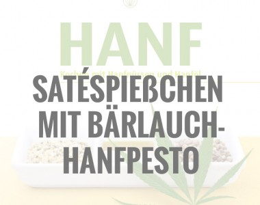 Satéspießchen mit Bärlauch-Hanfpesto